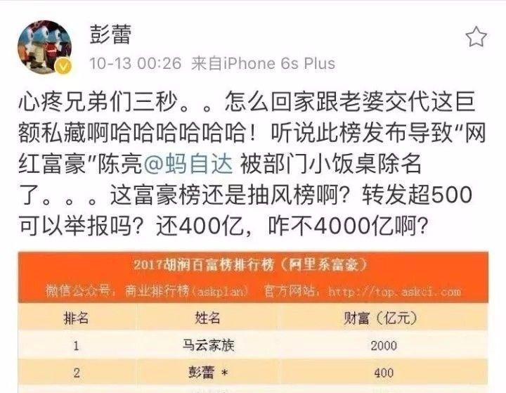 彭蕾喊冤,胡润冤喊:陈亮到底有没有34亿?丨权力榜