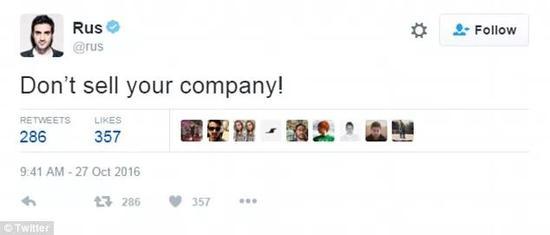 Yusupov后来发过一条推文:不要卖掉你的公司!