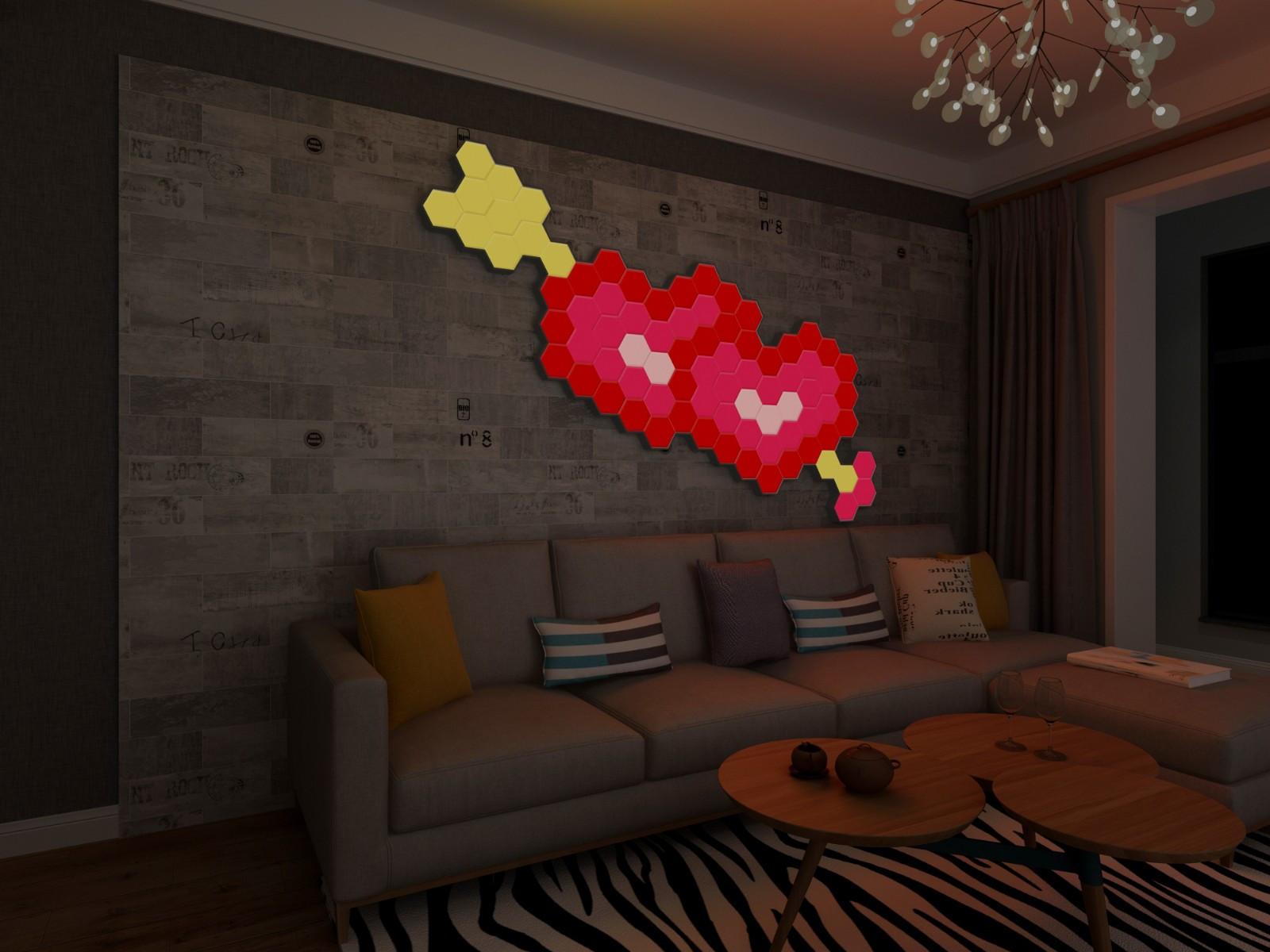 水立方蜂巢拼接壁灯:将水立方民用化,智能化,多功能化