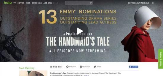 """▲ Hulu自制的著名""""R级剧""""《使女的故事》"""